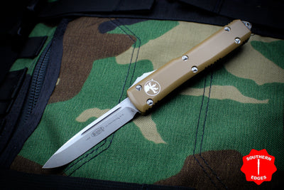 Microtech Ultratech Tan Single Edge OTF Knife Stonewash Blade 121-10 TA