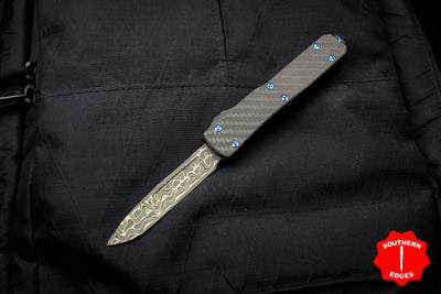 2016 Microtech Ultratech Carbon Fiber Flat Top Damascus Single Edge OTF Knife Black Handle Blue HW 121-16 CFTI