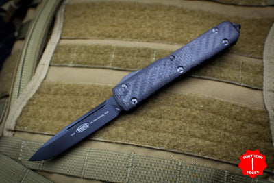 Microtech Ultratech Black Carbon Fiber Top Single Edge OTF Knife DLC Tactical Black Blade 121-1 DLCCFT