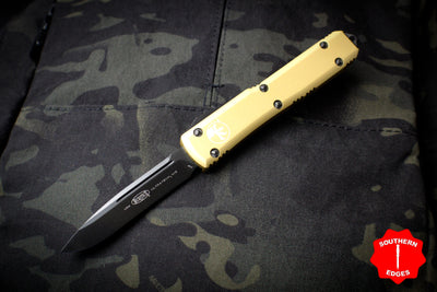 Microtech Ultratech Champagne Gold Single Edge OTF Knife FULL DLC Tactical Black Blade 121-1 DLCTCG