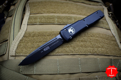 Microtech Ultratech Black Single Edge OTF Knife FULL DLC Tactical Black Blade 121-1 DLCT