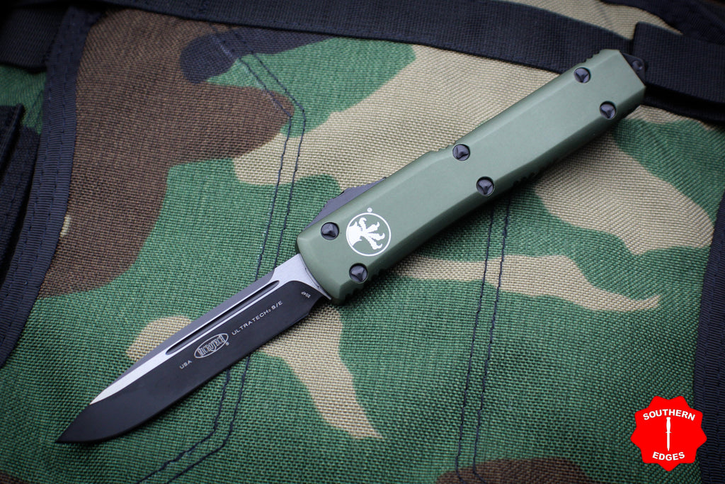 Microtech Ultratech OD Green Single Edge OTF Knife Black Tactical Blade 121-1 OD
