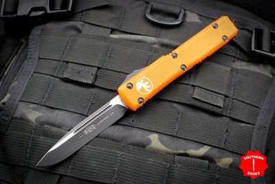 Microtech Ultratech Orange Single Edge OTF Knife Black Blade 121-1 OR
