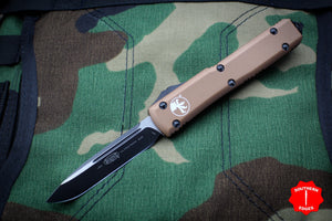 Microtech Ultratech Tan Single Edge OTF Auto Knife Black Tactical Blade 121-1 TA