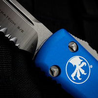 Microtech Ultratech Blue Single Edge OTF Knife Satin Part Serrated Blade 121-5 BL