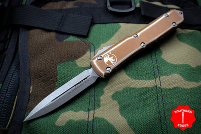 Microtech Ultratech Distressed Tan Double Edge OTF Knife with Apocalyptic Blade 122-10 DTA
