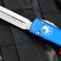 Microtech Ultratech Blue Double Edge DE OTF Knife with Stonewash Blade 122-10 BL