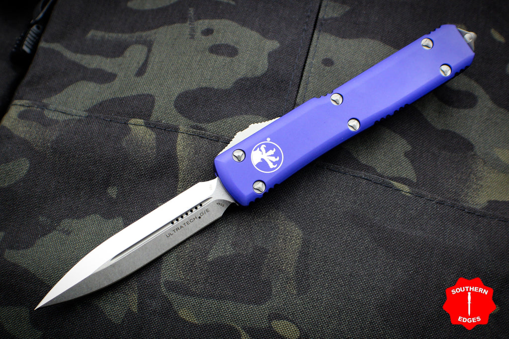 Microtech Ultratech Purple Double Edge DE OTF Knife with Stonewash Blade 122-10 PU