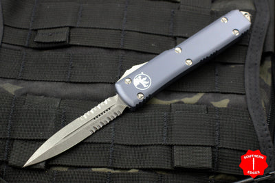Microtech Ultratech Gray Double Edge OTF Knife with Part Serrated Apocalyptic Blade 122-11 APGY
