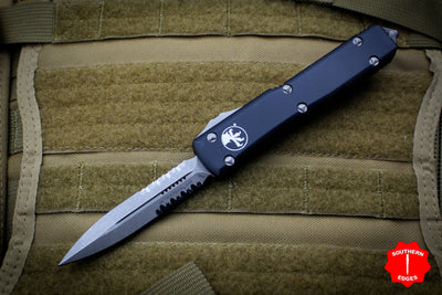 Microtech Ultratech Black Double Edge OTF Knife with Part Serrated Apocalyptic Blade 122-11 AP
