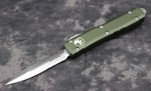 Microtech Ultratech OD Green D/E OTF Knife with Part Serrated Stonewash Blade 122-11 OD