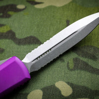 Microtech Ultratech Violet Double Edge OTF Knife with Part Serrated Stonewash Blade 122-11 VI