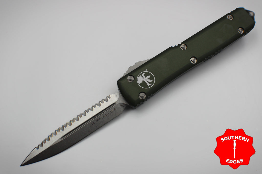 Microtech Ultratech OD Green D/E OTF Knife with Full Serrated Stonewash Blade 122-12OD