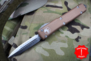 Microtech Ultratech Tan D/E OTF Knife with Full Serrated Stonewash Blade 122-12 TA