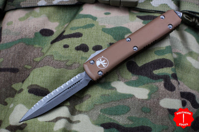 Microtech Ultratech Tan Double Edge OTF Knife Apocalyptic Full Serrated Blade 122-12 APTA