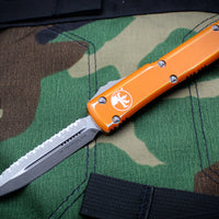 Microtech Ultratech Distressed Orange Double Edge OTF Knife Stonewash Full Serrated Blade 122-12 DOR