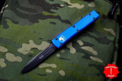 Microtech Ultratech Blue Single Edge OTF Knife FULL DLC Tactical Black Blade 121-1 DLCTBL