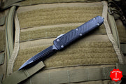 Microtech Ultratech Black Double Edge OTF Knife Carbon Fiber Top Black Blade 122-1 CF