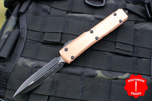 Microtech Ultratech Double Edge Copper Top and Black OTF Knife Black Blade 122-1 CP