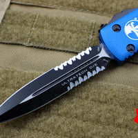 Microtech Ultratech Blue Double Edge OTF Knife Black Part Serrated Blade 122-2 BL