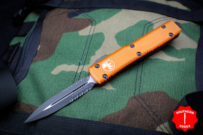 Microtech Ultratech Orange Double Edge OTF Knife Black Part Serrated Blade 122- 2 OR
