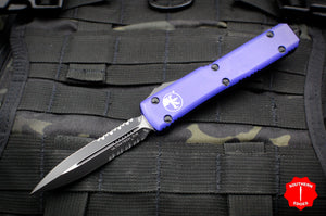 Microtech Ultratech Purple Double Edge OTF Knife Black Part Serrated Blade 122-2 PU