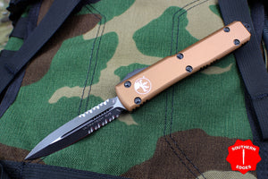 Microtech Ultratech Tan D/E OTF Knife Black Part Serrated Blade 122-2 TA