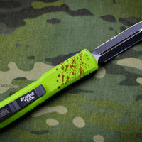 Microtech Ultratech Zombietech Green Double Edge OTF Knife Black Part Serrated Blade 122-2 Z