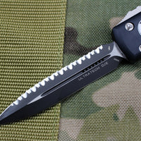 Microtech Ultratech Black D/E OTF Knife Black Full Serrated Blade 122-3