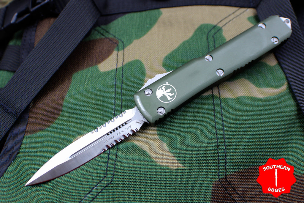 Microtech Ultratech OD Green D/E OTF Knife Satin Part Serrated Blade 122-5 OD