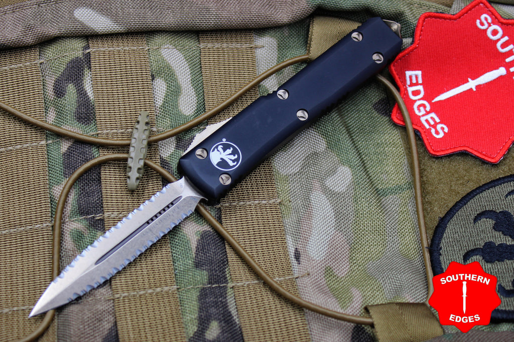 Microtech Ultratech Black D/E OTF Knife Double Full-Serrated Bronzed Blade 122-D15
