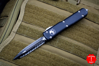 Microtech Ultratech Black Double Edge OTF Knife Black Double Full Serrated Blade 122-D3