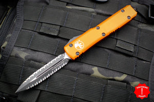 Microtech Ultratech Orange Double Edge OTF Knife Black Double Full Serrated Blade 122-D3 OR