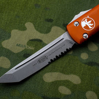Microtech Ultratech Orange Tanto Edge OTF Knife Stonewash Part Serrated Blade 123-11 OR