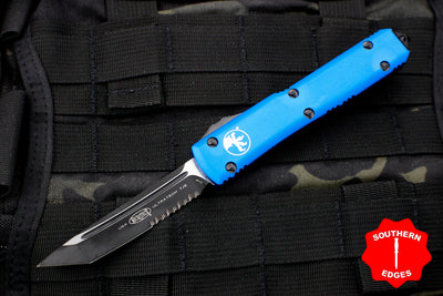 Microtech Ultratech Blue Tanto Edge OTF Knife Black Part Serrated Blade 123-2 BL