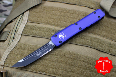 Microtech Ultratech Purple Tanto Edge TE OTF Knife Black Part Serrated Blade 123-2 PU