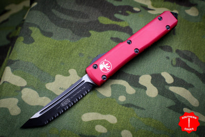 Microtech Ultratech Red Tanto Edge OTF Knife Black Full Serrated Blade 123-3 RD
