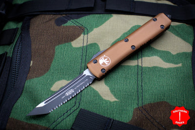 Microtech Ultratech Tan Tanto Edge OTF Knife Black Full Serrated Blade 123-3 TA