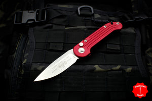 Microtech LUDT Red Single Edge OTS Knife Stonewash Blade 135-10 RD