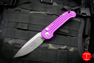 Microtech LUDT OTS Violet Handle with Stonewash Single Edge Blade 135-10 VI