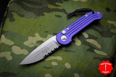 Microtech LUDT Purple Knife Stonewash Part Serrated Blade 135-11 PU