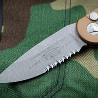 Microtech LUDT Tan Knife Apocalyptic Finished Part Serrated Blade 135-11 APTA