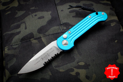Microtech LUDT Turquoise Knife Stonewash Part Serrated Blade 135-11 TQ