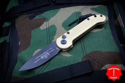 Microtech LUDT OTS Champagne Gold Handle Black Single Edge Blade 135-1 CG