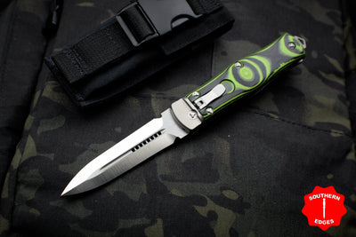 Microtech 2014 Pre-Production OSS Cobra Knife, Green and Black G-10, Auto Lever Lock, Satin Standard 137-4 GR