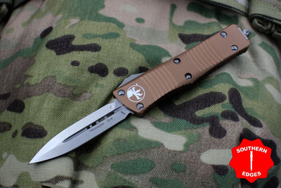 Microtech Tan Troodon Double Edge OTF knife with Stonewash Blade 138-10 TA