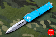 Microtech Turquoise Troodon Double Edge OTF knife with Stonewash Blade 138-10 TQ