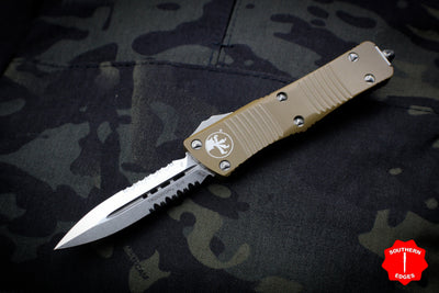 Microtech Troodon Double Edge OTF knife Tan with Stonewash Part Serrated Blade 138-11 TA