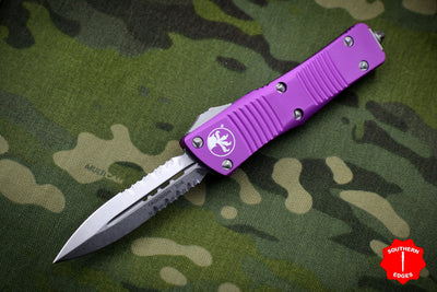 Microtech Violet Troodon Double Edge OTF knife with Stonewash Part Serrated Blade 138-11 VI