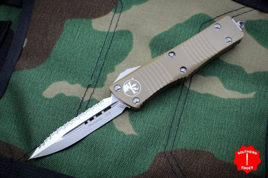 Microtech Troodon Double Edge OTF knife Tan with Stonewash Full Serrated Blade 138-12 TA